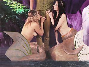 red-hot mermaid 3 way with Aiden Ashley and Mia Malkova