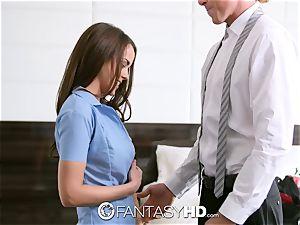 His cum slightly misses Dillion's eye