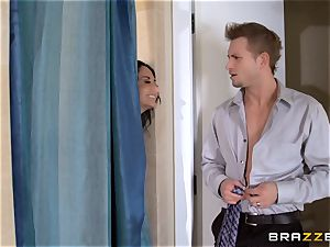 phat breasted Ava Addams cheats in the bathroom