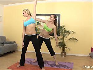 super-cute yoga girls Brett and Dani elation each other