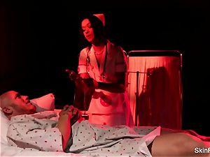 Behind the vignettes with beautiful nurse flesh Diamond