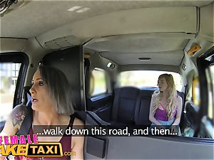 gal faux taxi lesbian tryst for posh college girl