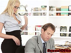 cutie assistant takes her boss' hard-on for a rail