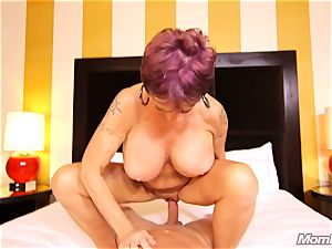 buxomy Russian GILF sploogs all over knob