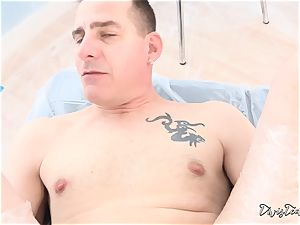 Dana mistreats her boy with a large dildo