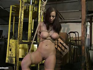 Kathia Nobili smacking the donk of super-steamy dame with cane