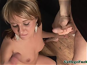 red-hot Russian takes a huge lollipop in her mitt and facehole