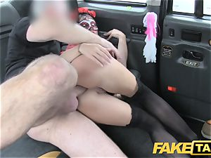 fake taxi gal in mask gets screwed in the arse