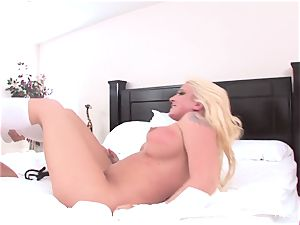 Abigail and Leya get it on dual faux-cock style