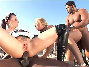 honeys Dana and Brooke have a hard-core multiracial four way