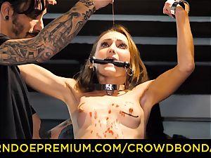 CROWD restrain bondage diminutive gimp nymphomaniac fetish group hump
