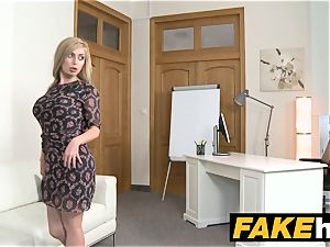 faux Agent sizzling blondie meaty orbs Russian gets a facial cumshot