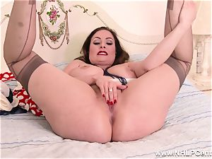 huge-titted brown-haired wanks off in sunburn nylons after striptease