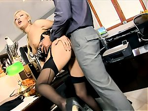 secretary Donna pulverized in black seamed stockings