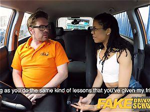 faux Driving college black american minx Kira Noir