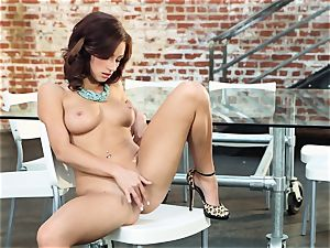 raunchy redhead Victoria Lynn wanks in just her boots