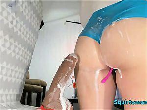 asian nymph money-shot on undies meaty jizm from unloading fuck stick
