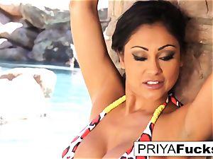 big-boobed Priya Rai gets all moist outside by the pool