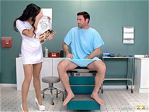 nuts busting nurse Karlee Grey jerks manmeat with relief