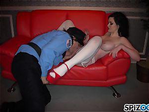 mischievous dark haired Kendall Karson porked by policeman in the stripclub