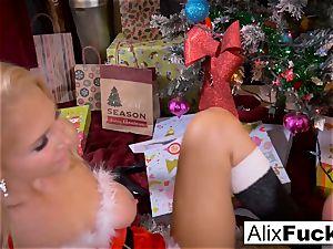 Christmas girly-girl intercourse inbetween 2 super-hot gals