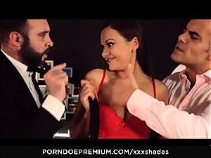hard-core SHADES - Tina Kay dp and oral pleasure in MMF screw fest