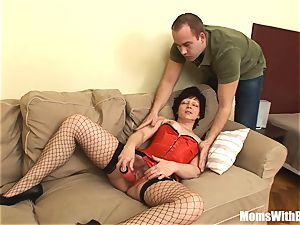 luxurious Mama Eva In Her undergarments porking A young guy